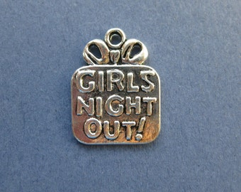 10 Girls Night Out Charms - Girls Night Out Pendants - Girls Night Out - Antique Silver - 22mm x 17mm -- (L6-10219)