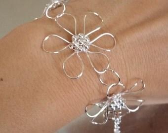 Stunning Solid 925 Sterling Silver Flower Bracelet