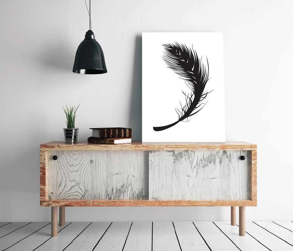Black feather contrast wall art 24 x 36 scandinavian for Nordic design shop