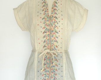 70's Embroidered Linen Blouse with Tie by Mister Marty of California