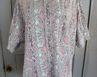 Vintage 80's 90's Neon Bright Electric Men's Button Shirt Abstract Surfer Large