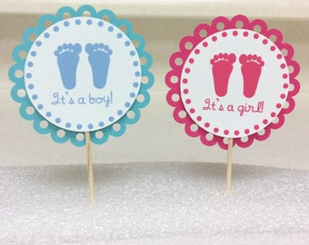 Gender Reveal/Baby Shower Cupcake Toppers