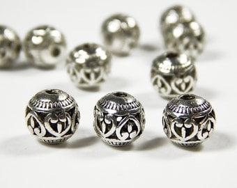 10 Pcs - 8mm Metal Spacer Beads - Tibetan Silver - Spacer Beads - Jewelry Supplies