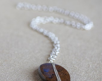 Brown sandstone necklace, Large brown oval wire wrapped sandstone Necklace silver plated chain