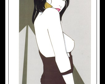 "Patrick Nagel Vintage Pinup Illustration Sexy Nude Pinup Mature Wall Art Deco Book Print 9"" x 12"""