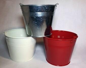 """Metal Buckets - Color Metal Bucket Pails - Medium (6"""")"""