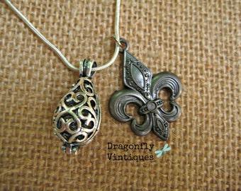 Essential Oil Diffuser Necklace, Aromatherapy, Silver Tone, Fleur De Lis  /24