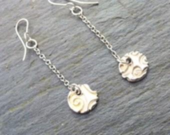 Earrings Swirl in Fine Silver by MidasTouch Jewels