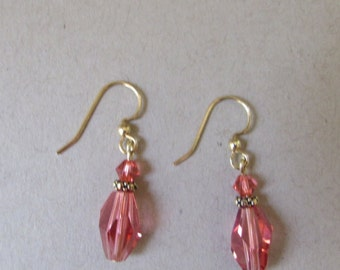 Swarovski pink crystal padparadscha earrings with gold filled earwires