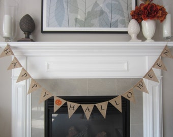 Happy Halloween burlap banner - burlap pennant