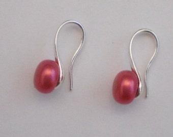 REDUCED - Sterling Silver Red Freshwater Pearl Earrings, Red Freshwater Pearls 8mm