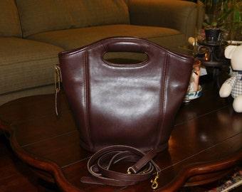 COACH~Dark Mahogany Leather Mini Shoulder Shopper Tote Bag Purse