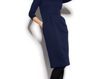 Autumn knitted dress Dark blue knee length Formal dress.