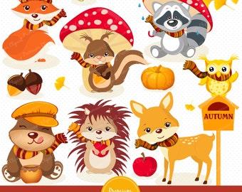 Fall animals clipart commercial use, fall clipart season, forest animals, digital clip art, woodland animals clip art - CA220