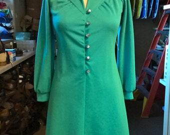 1960s Teal Marta D A-Line Dress Size L