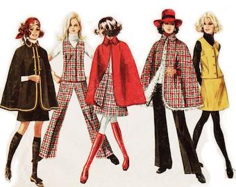"Womens Cape Pattern A-line Skirt Pattern SIMPLICITY 8353 bust 38"" 1960s Pants and Vest Pattern Vintage Cape Coat Pattern 1960s Skirt Pattern"
