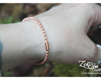 "8"" 2.4mm Copper Ball Chain Bracelet"