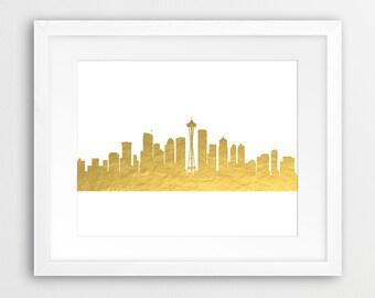 Seattle Skyline Printable File, Seattle Cityscape Gold Foil Texture - Modern Wall Art Home Office Decor Digital Print Instant Download Art