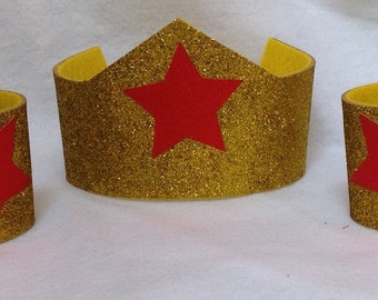 WonderWoman Accessories, wonderwoman headband, armbands