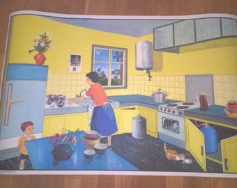 "School poster Oge-Hachette ""kitchen / Street."