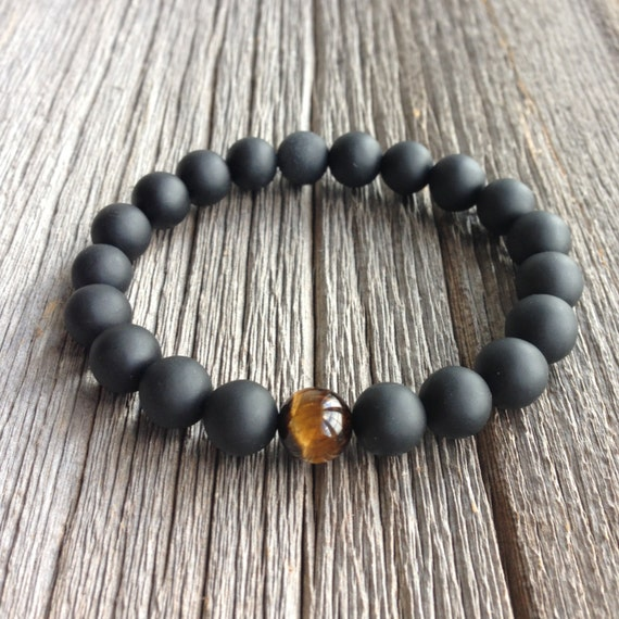 Men's Beaded Bracelet 10mm or 8mm Matte Onyx and Tiger