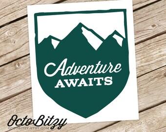 Adventure Awaits, Mountains Vinyl Decal Sticker