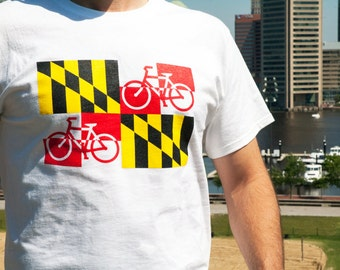 Maryland bicycle flag t-shirt, white