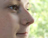 Gold Nose Ring 2mm Green Opal, Nose piercing 20 gauge, Septum jewelry, Helix earring, Cartilage hoop, Tragus ring, Conch piercing, 20g Rook