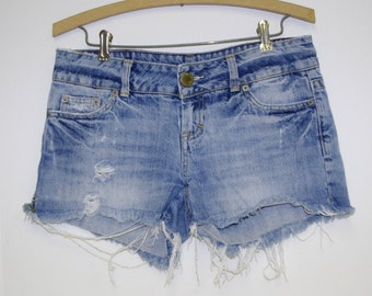 Vintage Destroyed Cutoffs By American Eagle Size 4 Lo-Mid Rise Made in Hong Kong Free US Standard Shipping