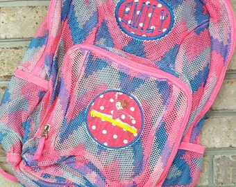 Monogrammed Backpack | Mesh Backpack | Back to School | Girls Backpack | Gymnast Backpack | Book Bag | Kids Backpack | Gymnastics Bag