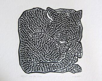 Cat linoprint black