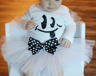 Ghost Tutu Costume Set // Halloween Ghost Costume // Toddler Ghost Tutu // White Tutu // Black and White Tutu