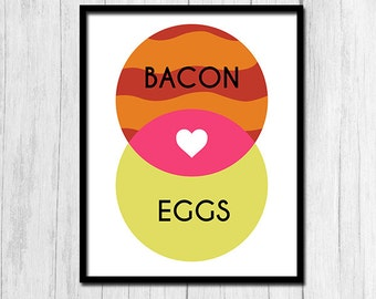 "Kitchen Wall Decor ""I Love Bacon and Eggs"" Kitchen Art Kitchen Wall Art Kitchen Decor Kitchen Home Decor Kitchen Prints Digital Download"