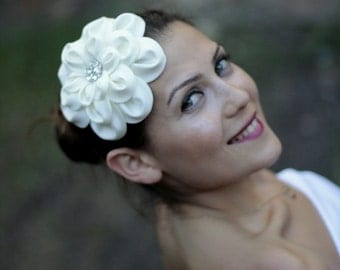 Ivory taffeta flower headpieces, hair accessories, wedding hair flower,bridal accessories,bridal hair accessories