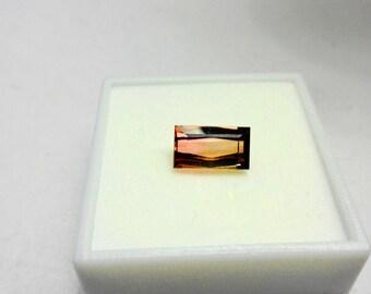Bi Color Radiant Cut 3.06ct. Tourmaline Loose Natural Gemstone.