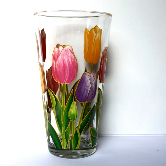 tulips vase glass vase hand painted hand painted vase painted
