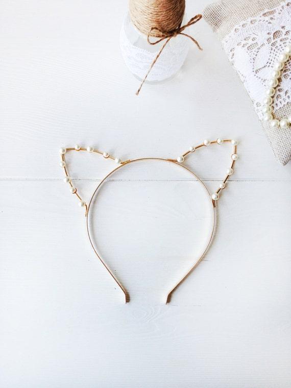 Or ou argent perle chat oreilles bandeau oreilles de chat - Oreille de chat serre tete ...
