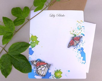 Stationery Set, Writing Paper, Personalized Stationary Set, Letter Paper, Letter Writing Set, Watercolor Monarch Butterflies, Nature