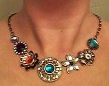 Boho Statement Necklace / Large Bronze & Gemstone Pendants / Flowered Charms / Multi Colored Gem Pendants / Bronze Link Chain