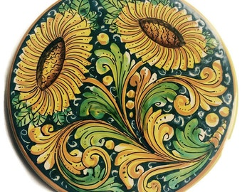 Pottery hotplate - trivet - hot plate - sunflowers - ceramic hptplate