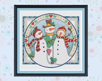 snowman trio cross stitch pattern