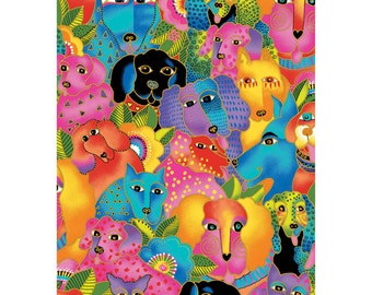 Laurel Burch Dogs & Doggies ~ 2015 Design ~ Out of Print, Sold by the 1/2 Yard or By the Panel