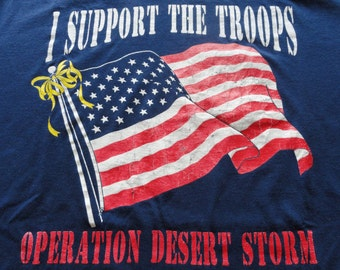 I Support The Troops / Operation Desert Storm / American flag with yellow ribbon / vintage t-shirt / 1990s / XL