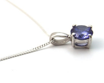 1ct Solitaire 4 Claw Tanzanite Pendant set in Sterling Silver, December Birthstone