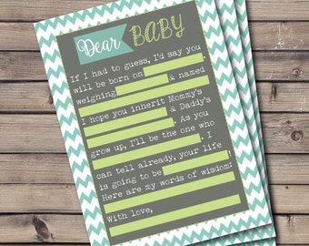 Baby Shower MadLibs Printable Game, Chevron Stripe, Teal, Gray, Lime Green, Fill In The Blanks