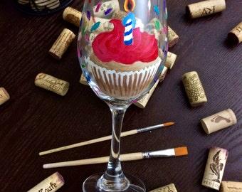 Birthday Cupcake Wine Glass