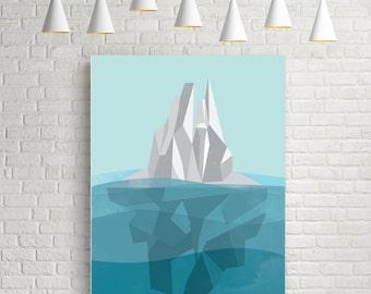 Iceberg, geometric art print, abstract wall art, original art, geometric wall art, abstract poster, geometric poster, nautical prints poster