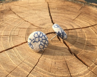 Tan with navy blue floral fabric button earrings