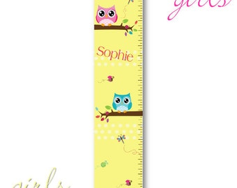 Personalized Girls Growth / Height Chart - Playful Owls