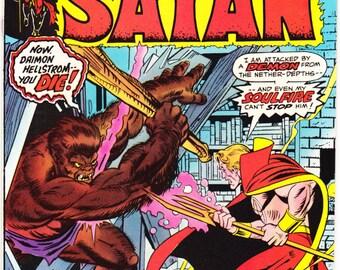 Marvel Spotlight 23, Son of Satan Horror comic, Hail Halloween, Scary, Devil, Hell, Beelzebub, Creepy. Marvel Comics from 1975 in NM (9.4)